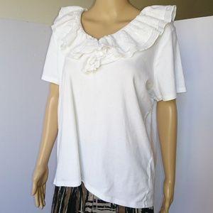 Lauren Ralph Lauren Ruffled Cotton Top Size 2X